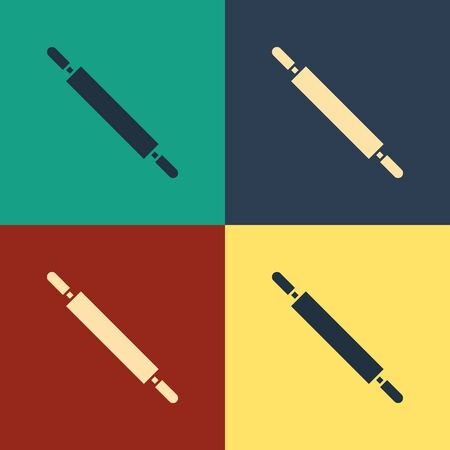 Color Rolling pin icon isolated on color background. Vintage style drawing. Vector Illustration