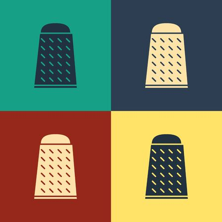 Color Grater icon isolated on color background. Kitchen symbol. Cooking utensil. Cutlery sign. Vintage style drawing. Vector Illustration