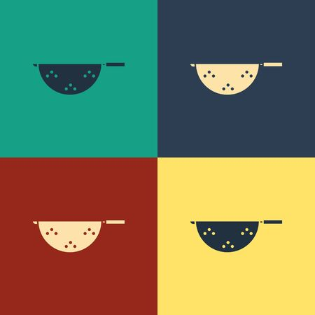 Color Kitchen colander icon isolated on color background. Cooking utensil. Cutlery sign. Vintage style drawing. Vector Illustration Çizim