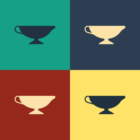 Color Sauce boat icon isolated on color background. Sauce bowl. Vintage style drawing. Vector Illustration