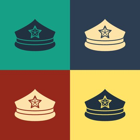 Color Police cap with cockade icon isolated on color background. Police hat sign. Vintage style drawing. Vector Illustration 向量圖像