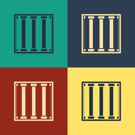 Color Prison icon isolated on color background. Vintage style drawing. Vector Illustration