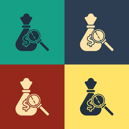 Color Money bag and magnifying glass icon isolated on color background. Dollar or USD symbol. Cash Banking currency sign. Vintage style drawing. Vector Illustration Illusztráció