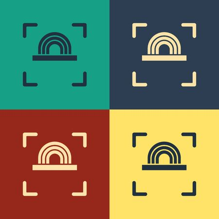 Color Fingerprint icon isolated on color background. ID app icon. Identification sign. Touch id. Vintage style drawing. Vector Illustration Stok Fotoğraf - 134743705