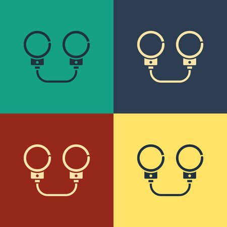 Color Handcuffs icon isolated on color background. Vintage style drawing. Vector Illustration Ilustração