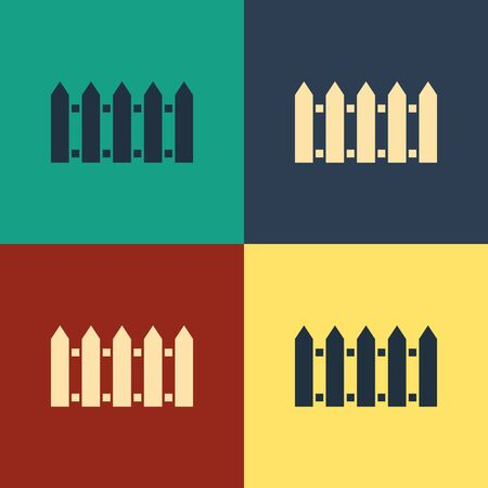 Color Garden fence wooden icon isolated on color background. Vintage style drawing. Vector Illustration 向量圖像
