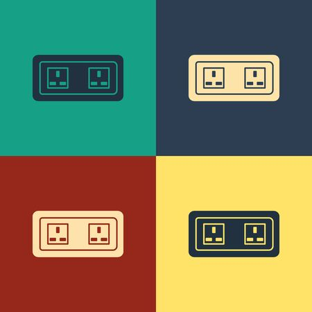 Color Electrical outlet icon isolated on color background. Power socket. Rosette symbol. Vintage style drawing. Vector Illustration