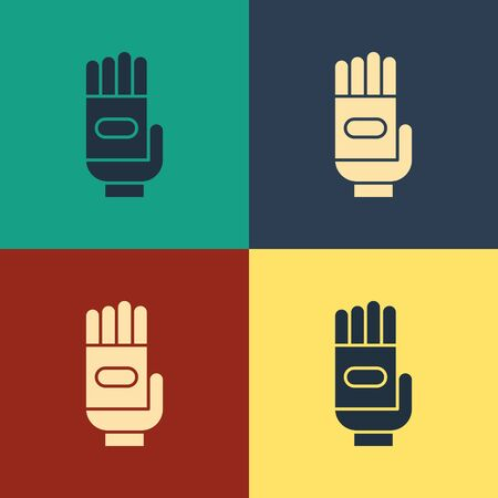 Color Garden gloves icon isolated on color background. Rubber gauntlets sign. Farming hand protection, gloves safety. Vintage style drawing. Vector Illustration Stok Fotoğraf - 134740357