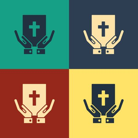 Color Oath on the Holy Bible icon isolated on color background. The procedure in court. Truth and truth. Promise before god. Vintage style drawing. Vector Illustration Illustration