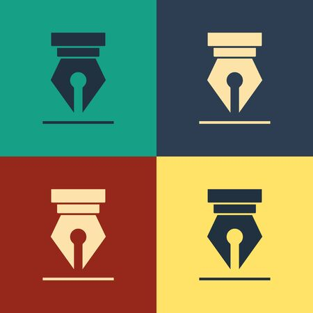 Color Fountain pen nib icon isolated on color background. Pen tool sign. Vintage style drawing. Vector Illustration