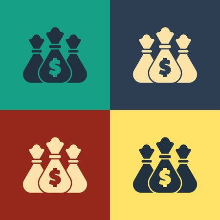 Color Money bag icon isolated on color background. Dollar or USD symbol. Cash Banking currency sign. Vintage style drawing. Vector Illustration Stock fotó - 134795822
