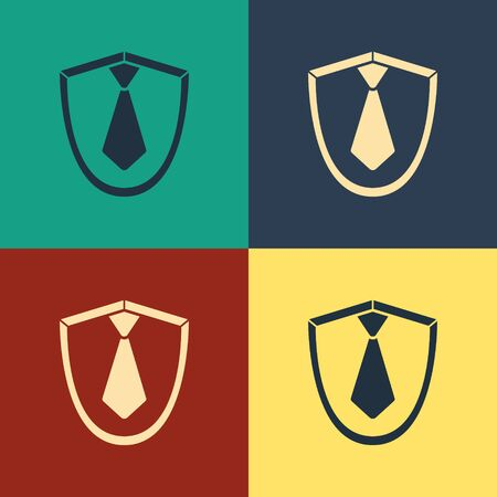 Color Tie icon isolated on color background. Necktie and neckcloth symbol. Vintage style drawing. Vector Illustration