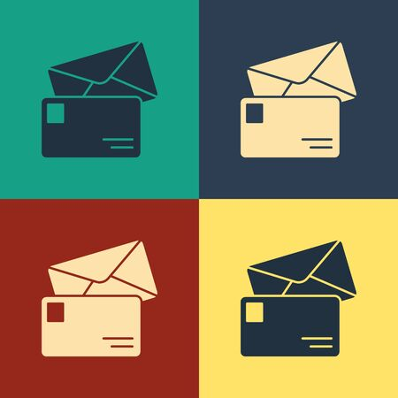 Color Envelope icon isolated on color background. Email message letter symbol. Vintage style drawing. Vector Illustration