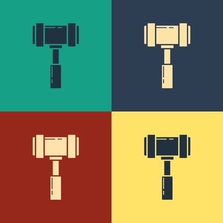 Color Judge gavel icon isolated on color background. Gavel for adjudication of sentences and bills, court, justice. Auction hammer. Vintage style drawing. Vector Illustration  イラスト・ベクター素材