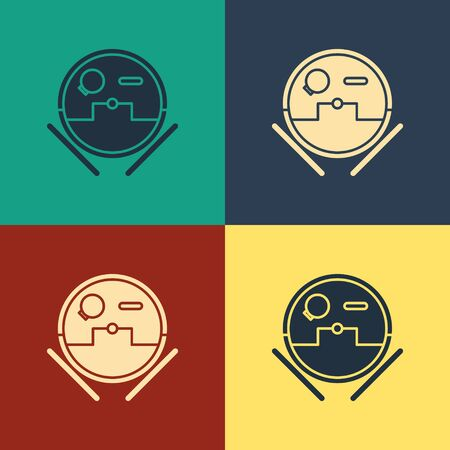 Color Robot vacuum cleaner icon isolated on color background. Home smart appliance for automatic vacuuming, digital device for house cleaning. Vintage style drawing. Vector Illustration 일러스트