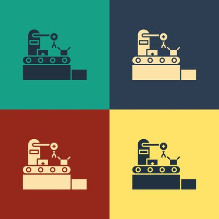 Color Factory conveyor system belt with cardboard boxes engineering machine icon isolated on color background. Robot industry concept. Vintage style drawing. Vector Illustration Ilustrace