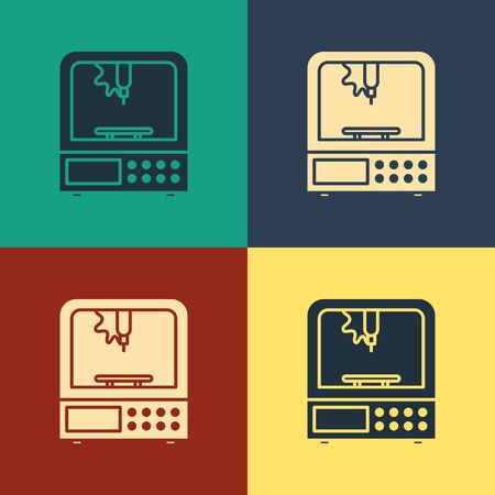 Color 3D printer icon isolated on color background. Vintage style drawing. Vector Illustration