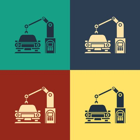 Color Industrial machine robotic robot arm hand on car factory icon isolated on color background. Industrial automation production automobile. Vintage style drawing. Vector Illustration