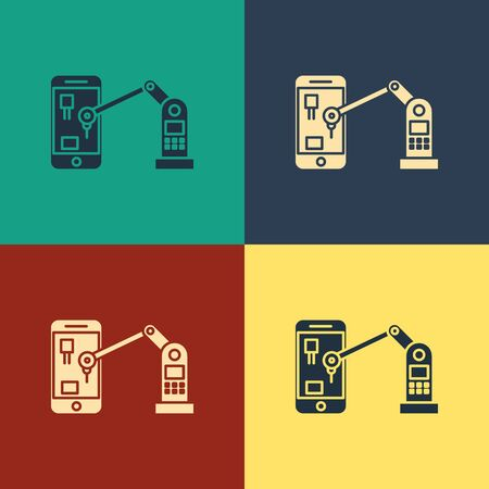Color Industrial machine robotic robot arm hand on mobile phone factory icon isolated on color background. Industrial robot manipulator. Vintage style drawing. Vector Illustration