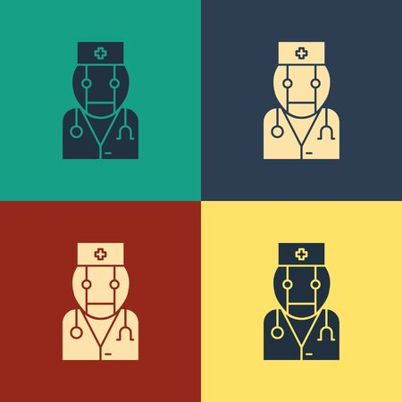 Color Robot doctor icon isolated on color background. Medical online consultation robotic silhouette artificial intelligence. Vintage style drawing. Vector Illustration Ilustrace
