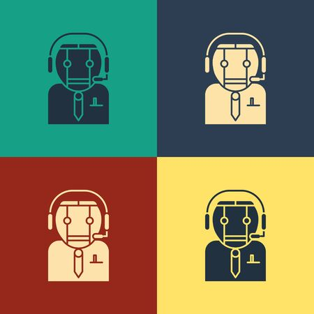 Color Worker robot icon isolated on color background. Vintage style drawing. Vector Illustration