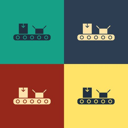 Color Conveyor belt with cardboard box icon isolated on color background. Vintage style drawing. Vector Illustration Ilustracja