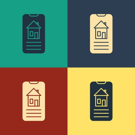 Color Smart home icon isolated on color background. Remote control. Vintage style drawing. Vector Illustration