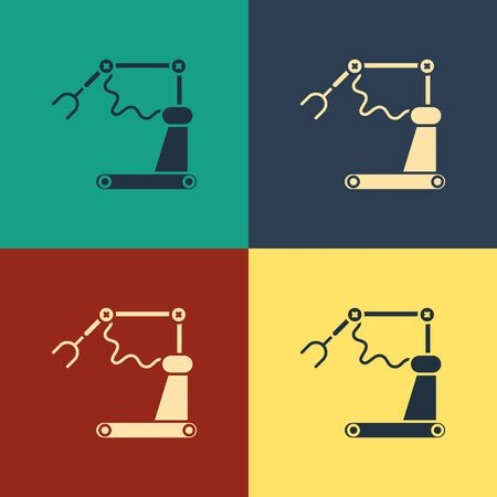 Color Industrial machine robotic robot arm hand factory icon isolated on color background. Industrial robot manipulator. Vintage style drawing. Vector Illustration Illustration