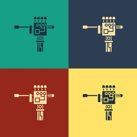 Color Mechanical robot hand and screwdriver tool icon isolated on color background. Robotic arm symbol. Technological concept. Vintage style drawing. Vector Illustration Ilustrace