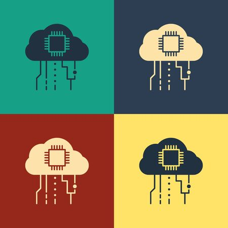 Color Internet of things icon isolated on color background. Cloud computing design concept. Digital network connection. Vintage style drawing. Vector Illustration