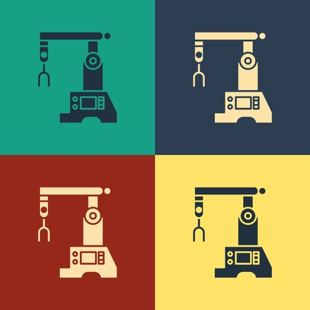 Color Assembly line icon isolated on color background. Automatic production conveyor. Robotic industry concept. Vintage style drawing. Vector Illustration