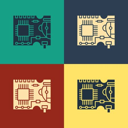 Color Printed circuit board PCB icon isolated on color background. Vintage style drawing. Vector Illustration