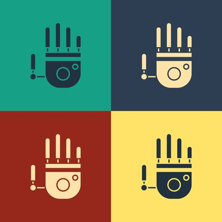 Color Mechanical robot hand icon isolated on color background. Robotic arm symbol. Technological concept. Vintage style drawing. Vector Illustration