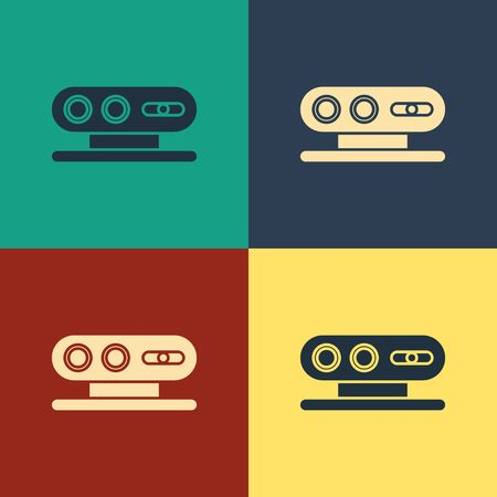 Color 3d scanning system icon isolated on color background. Vintage style drawing. Vector Illustration