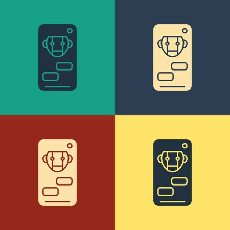 Color Bot icon isolated on color background. Robot icon. Vintage style drawing. Vector Illustration
