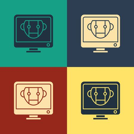 Color Bot icon isolated on color background. Computer monitor and robot icon. Vintage style drawing. Vector Illustration