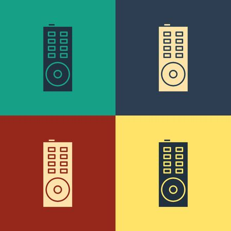 Color Remote control icon isolated on color background. Vintage style drawing. Vector Illustration