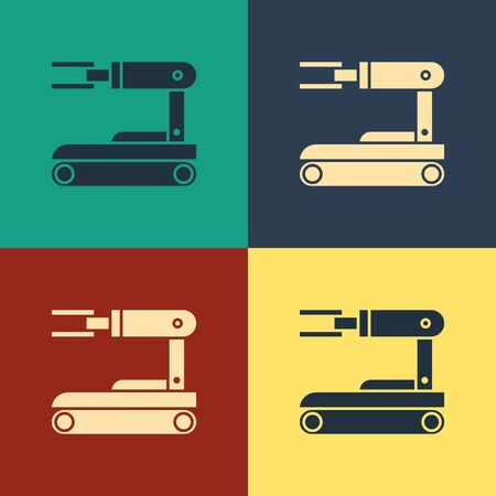 Color Robot icon isolated on color background. Vintage style drawing. Vector Illustration