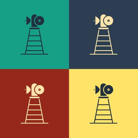 Color Antenna icon isolated on color background. Radio antenna wireless. Technology and network signal radio antenna. Vintage style drawing. Vector Illustration Illustration
