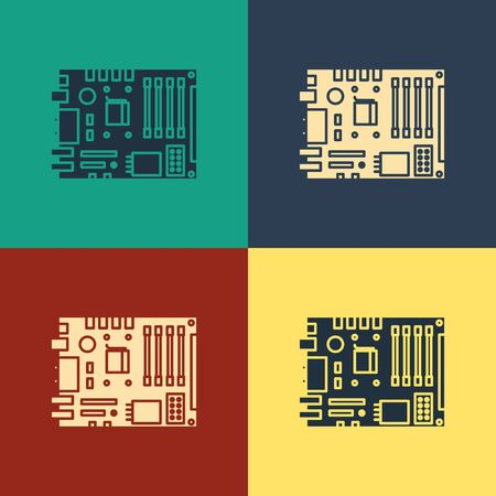 Color Electronic computer components motherboard digital chip integrated science icon isolated on color background. Circuit board. Vintage style drawing. Vector Illustration