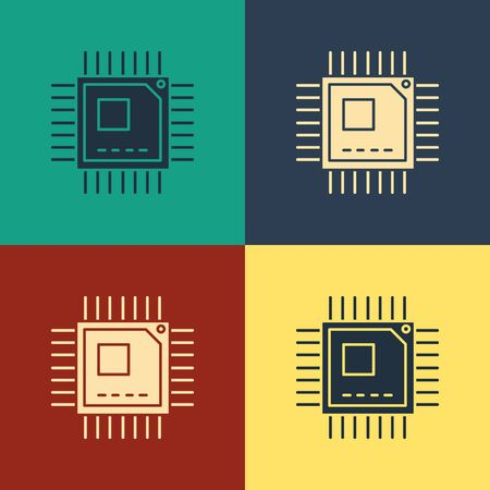 Color Computer processor with microcircuits CPU icon isolated on color background. Chip or cpu with circuit board sign. Micro processor. Vintage style drawing. Vector Illustration