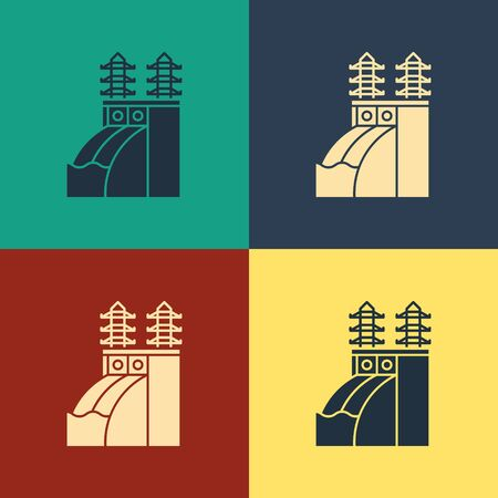 Color Nuclear power plant icon isolated on color background. Energy industrial concept. Vintage style drawing. Vector Illustration