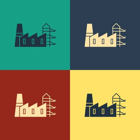 Color Power station plant and factory icon isolated on color background. Energy industrial concept. Vintage style drawing. Vector Illustration
