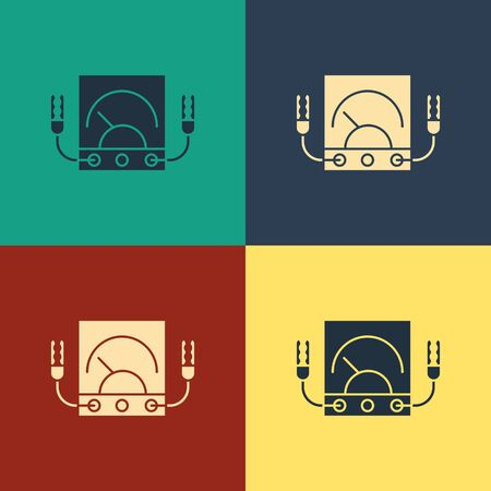 Color Ampere meter, multimeter, voltmeter icon isolated on color background. Instruments for measurement of electric current. Vintage style drawing. Vector Illustration