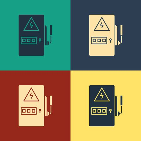 Color Electrical panel icon isolated on color background. Vintage style drawing. Vector Illustration