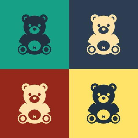 Color Teddy bear plush toy icon isolated on color background. Vintage style drawing. Vector Illustration