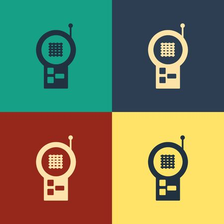 Color Baby Monitor Walkie Talkie icon isolated on color background. Vintage style drawing. Vector Illustration