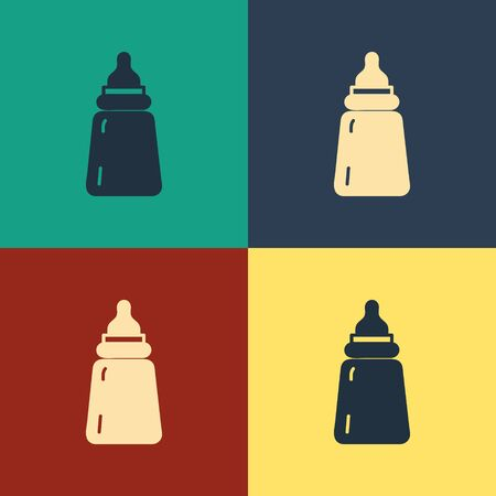 Color Baby bottle icon isolated on color background. Feeding bottle icon. Milk bottle sign. Vintage style drawing. Vector Illustration