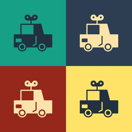 Color Toy car icon isolated on color background. Vintage style drawing. Vector Illustration Foto de archivo - 134796020