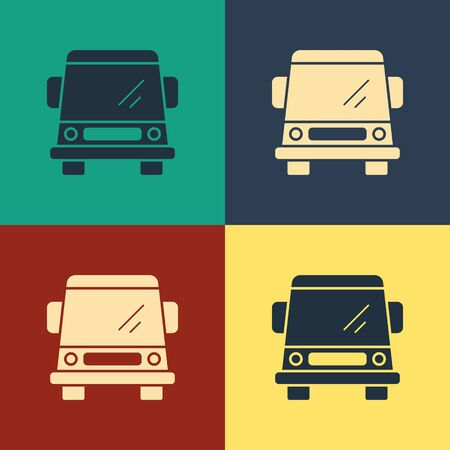Color Car icon isolated on color background. Front view. Vintage style drawing. Vector Illustration Foto de archivo - 134742835